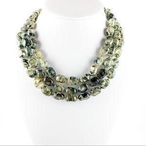 Vintage Sea Green Multi-Strand Lucite Necklace